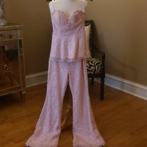 Tony Bowls Embellished 2 piece Pink Pants Suit